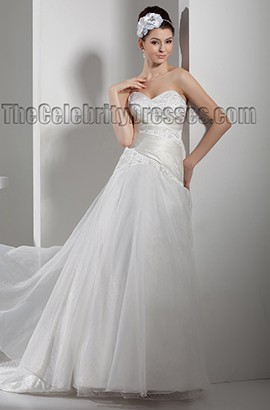 Elegant Stapless Sweetheart Beaded A-Line Chapel Train Wedding Dress