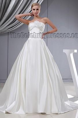 Elegant Strapless A-Line Chapel Train Silk Like Satin Wedding Dress