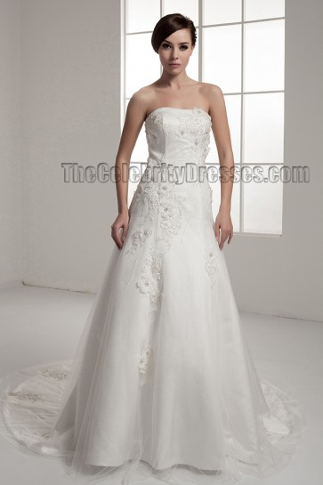 Elegant Strapless A-Line Chapel Train Wedding Dresses