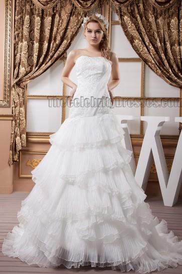 Elegant Strapless A-Line Embroidered Ruffles Wedding Dress
