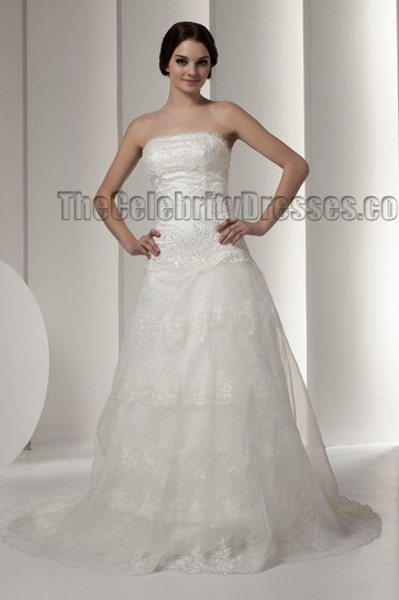 Elegant Strapless A-Line Lace Beaded Wedding Dresses