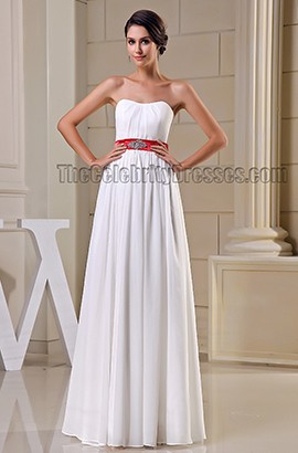 Elegant Strapless White Prom Gown Evening Dresses With Red Belt