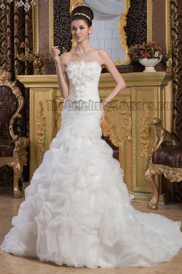 Elegant Strapless A-Line Ruffles Chapel Train Wedding Dresses