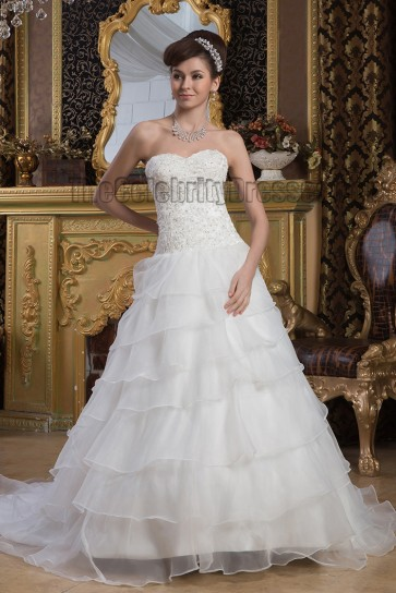 Elegant Strapless A-Line Sweetheart Embroidered Lace Up Wedding Dresses