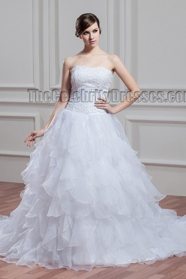 Elegant Strapless Beaded A-Line Chapel Train Wedding Dress