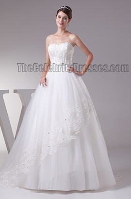 Elegant Strapless Beaded Ball Gown Chapel Train Wedding Dresses