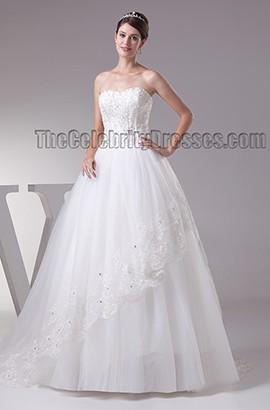 Elegant Strapless Beaded Ball Gown Chapel Train Wedding Dresses