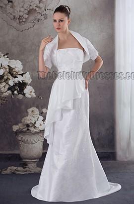 Elegant Strapless Beaded Sweep Brush Train Wedding Dress With A Wrap