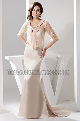 Elegant Strapless Champagne Evening Dress Prom Gown