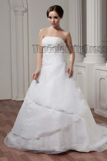 Elegant Strapless Embroidered A-Line Chapel Train Wedding Dress