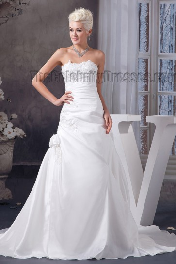Elegant Strapless Embroidered A-Line Wedding Dress Bridal Gown