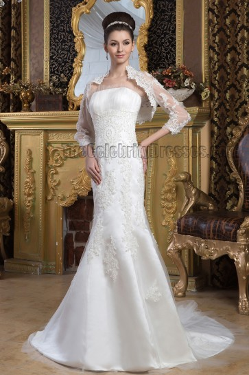 Elegant Strapless Embroidered Wedding Dress With A Wrap