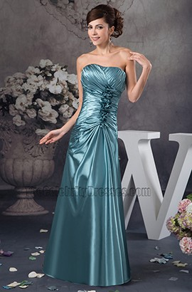 Elegant Strapless Floor Length Bridesmaid Prom Dresses