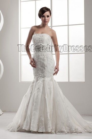 Elegant Strapless Mermaid Lace Up Beaded Wedding Dresses
