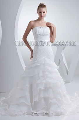 Elegant Strapless Organza A-Line Chapel Train Wedding Dresses