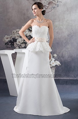 Elegant Strapless Sweetheart A-Line Lace Wedding Dresses