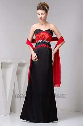 Elegant Strapless Red And Black Formal Gown Evening Dress