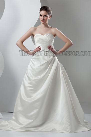 Elegant Sweetheart Strapless A-Line Lace Up Wedding Dresses