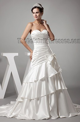 Elegant Sweetheart Strapless Chapel Train Wedding Dress Bridal Gown