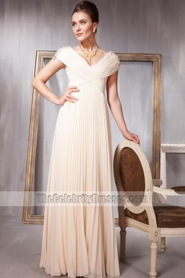Elegant V-Neck Ruffles Full Length Formal Dress Evening Gown