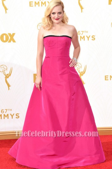 Elisabeth Moss Fuchsia Formal Dress 2015 Emmy Awards Red Carpet TCD6317