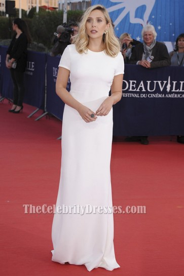 Elizabeth Olsen White Evening Dress 'Ruth And Alex' Premiere TCD6189