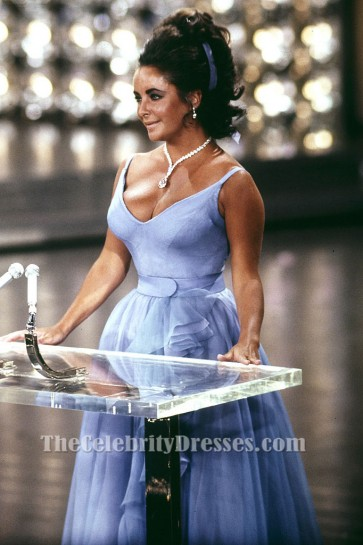 Elizabeth Taylor 1970 Oscar Classic Blue A-Line Full Length Evening Formal Dress