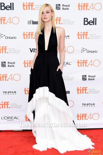 Elle Fanning White And Black Halter Evening Dress 'Trumbo' & 'About Ray' Toronto Film Festival Premiere TCD6302