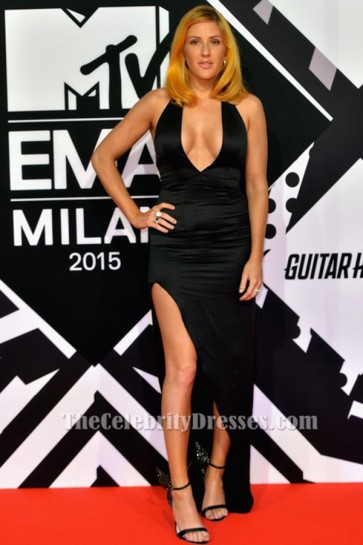 Ellie Goulding Sexy Black Halter Evening Dress 2015 MTV EMAs TCD6372
