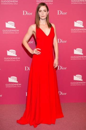 Emily Blunt Red Evening Dress 2015 Guggenheim International Gala Dinner TCD6390