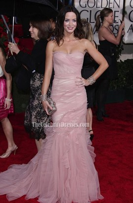 Emily Blunt Sweetheart Strapless Prom Gown Formal Dress Golden Globe Awards 2010