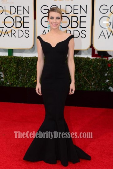 Emma Roberts 2014 Golden Globe Awards Black Formal Dress Red Carpet