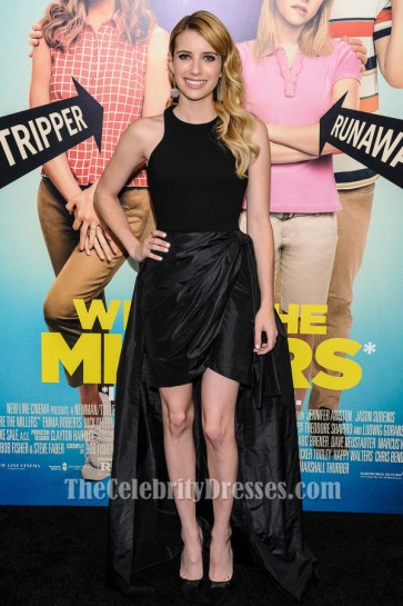 Emma Roberts We're The Millers Premiere Black High Low Evening Dress TCD6677