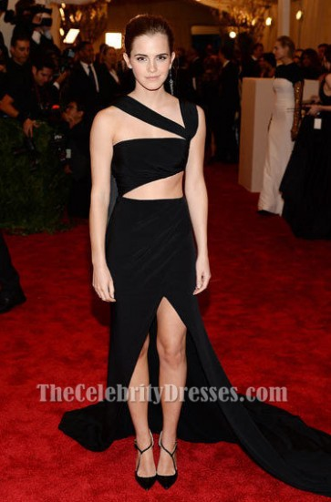 Emma Watson Black Prom Evening Dress Met Gala 2013 Red Carpet