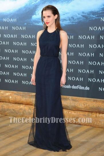 Emma Watson Dark Navy Backless Prom Dress Noah premiere