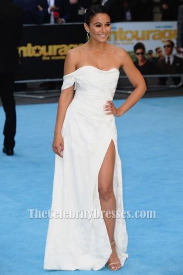 Emmanuelle Chriqui White Evening Dress Entourage Premiere TCD6426