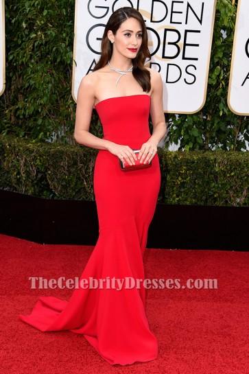 Emmy Rossum Red Formal Dress Golden Globes 2016 Red Carpet Gown