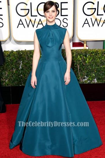 Felicity Jones High Neckline Formal Dress 2015 Golden Globe Awards Red Carpet TCD6016