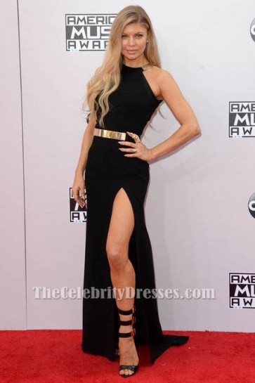Fergie Black Side Slit Formal Evening Dresses 2014 American Music Awards Red Carpet TCD6100