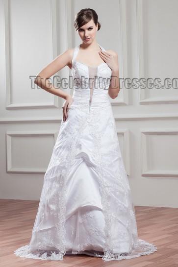 Floor Length A-Line Halter Wedding Dress With Beading