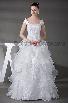 Floor Length A-Line Off-the-Shoulder Organza Wedding Dress