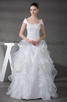 Floor Length A-Line Off-the-Shoulder Organza Wedding Dress