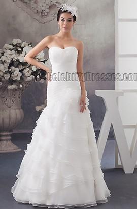 Floor Length A-Line Strapless Organza Sweetheart Wedding Dresses