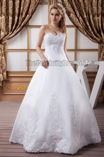 Floor Length A-Line Strapless Sweetheart Beaded Wedding Dresses