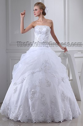 Floor Length Ball Gown Beaded Strapless Organza Wedding Dress
