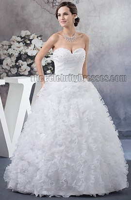 Floor Length Ball Gown Strapless Sweetheart Ruffles Beaded Wedding Dress
