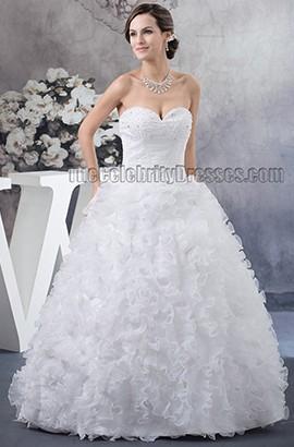 Floor Length Ball Gown Strapless Sweetheart Ruffles Beaded Wedding Dress