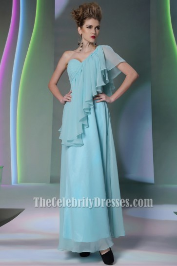 Floor Length Blue Chiffon One Shoulder Prom Gown Evening Dresses