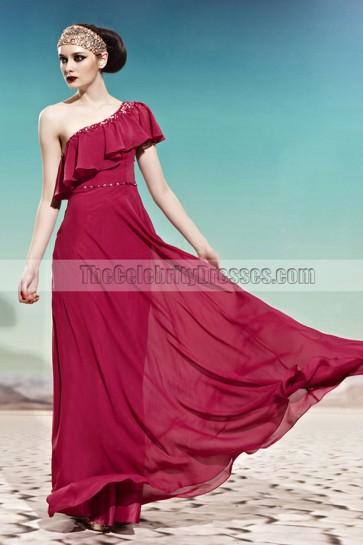 Floor Length Burgundy One Shoulder Chiffon Prom Evening Gown