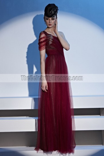 Floor Length Burgundy Tulle One Shoulder Formal Gown Evening Dress